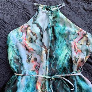 marble, high neck, sleeveless dress, dress